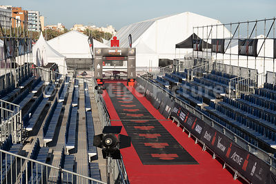 The finish line and public seating for competitors