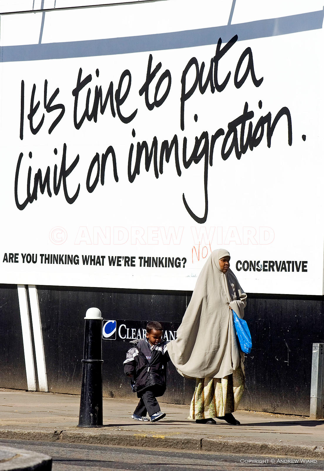 1985 general election campaign. Conservative Party election poster calling for limits to immigration as party leader Michael ...