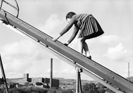 #83777,  Class is taken out to explore the locality, Whitworth Comprehensive School, Whitworth, Lancashire.  1970.  Shot for ...