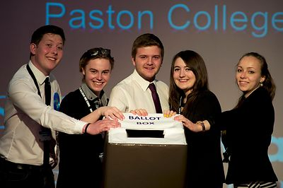 North Walsham High School General Election mock hustings with students from Paston Sixth Form College who are playing the ele...