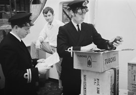 #124444,  HM Customs & Excise officers searching a ship, river Thames, London, 1973.