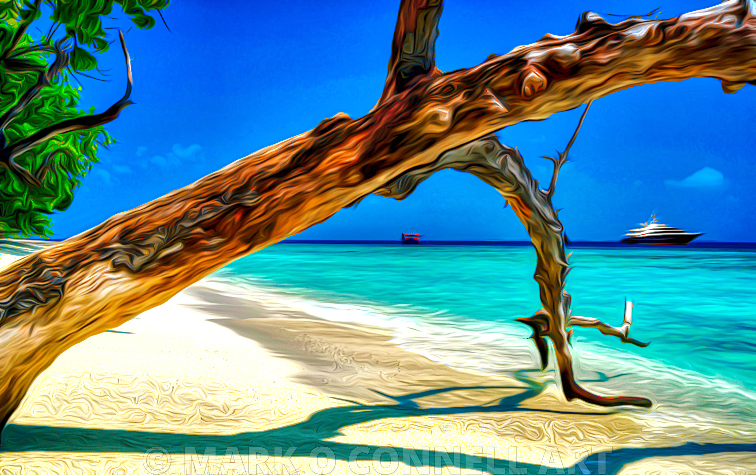 art,airbrush,painting,superyacht,wheels,maldives,tree,trunk,beach,sand,water,ocean,sea,