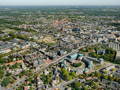 Helmond, on the left Museum Helmond at the Frans Joseph van Thielpark, on the right theatre the Speelhuis in the Onze Lieve V...