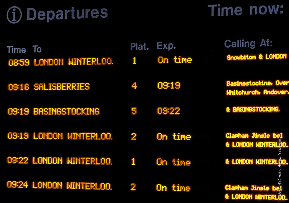 #122212   Departure board at Woking station in the week before Christmas.  Southwest Trains renamed several stations with Chr...