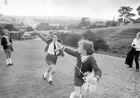 #83812,  Flying a kite, Whitworth Comprehensive School, Whitworth, Lancashire.  1970.  Shot for the book, 'Family and School,...