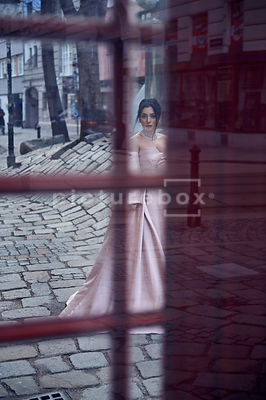 A mystery woman, in a dress obscured by a telephone box or window.