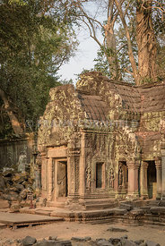 An entrance at the temple of Ta Prohm within the Angkor Wat complex in Cambodia.