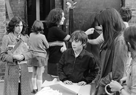 #75017  Moving equipment and books into the building, Liverpool Free School, Liverpool  1971.  Also known as the Scotland Roa...