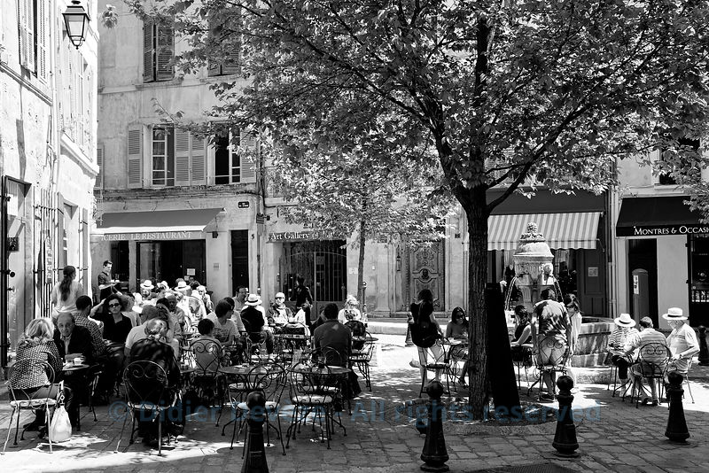 "Guests on restaurant terrace in square ""Les trois ormeaux"" in downtown Aix-en-Provence (Aix-en-Provence way of life - not too..."