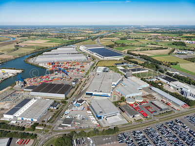 Holtum, Born, logistics business park Holtum Noord I (1) and Holtum Noord III (3) with a.o. barge and rail terminal, Barge Te...