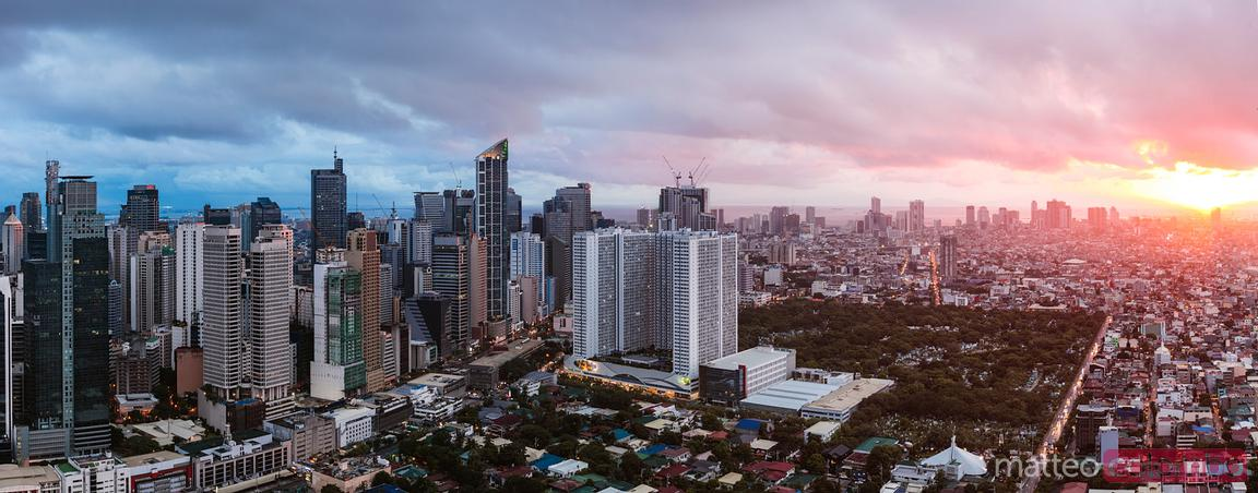 Makati skyline at sunset, Manila, Philippines