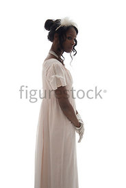 A semi-silhouette of a Regency woman in a dress – shot from eye level.