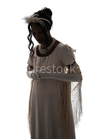A silhouette of a Regency woman in a white dress – shot from eye level.