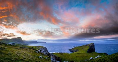 Sunset ober Neist Point on the Isle of Skye in Scotland