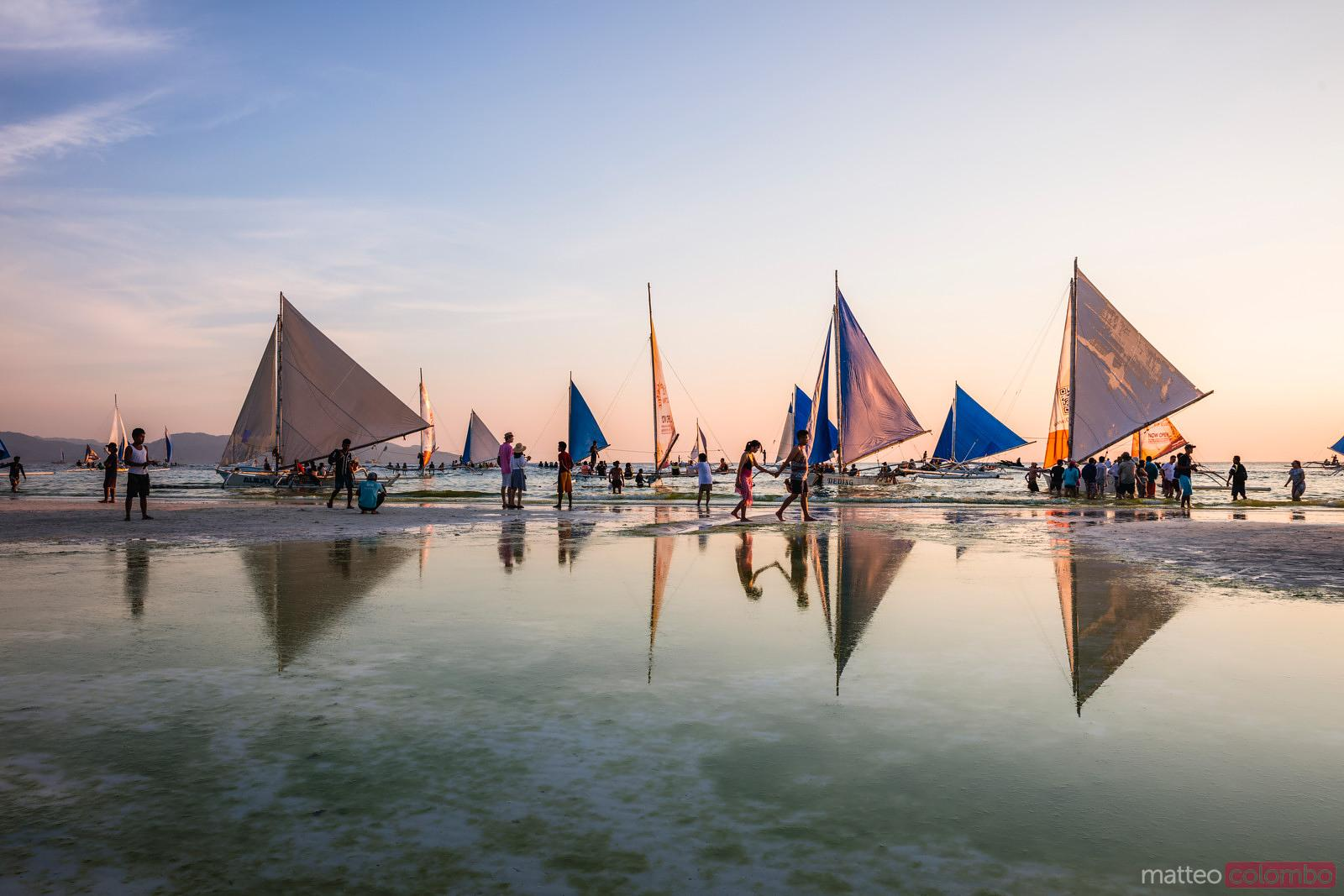 Sailboats at sunset, Boracay island, Philippines