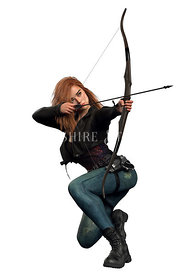 Urban Fantasy Archer with Red Hair