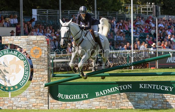 Kirsty Short and COSSAN LAD, showjumping phase, Land Rover Burghley Horse Trials 2018
