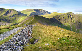 The summits of (L-R) Crag Hill, Grasmoor, Hobcarton, Sand Hill and Hopegill Head in the Lake District, England, UK.