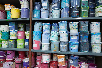 Fabric paint in jars