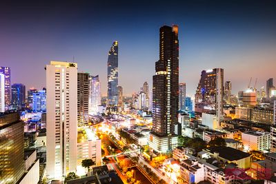 Bangkok financial district at dusk, Thailand