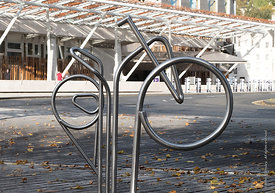 #122524,  Bicycle stands, designed by EMBT/RMJM to be an integral part of the landscape at the Scottish Parliament building (...