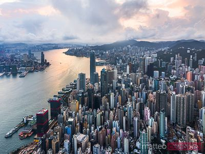 Aerial view of Hong Kong island at sunrise