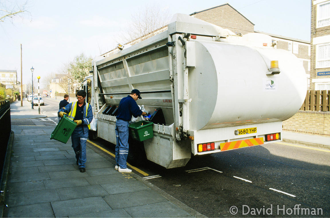 Recycling Collection 1 Specialised truck for recyclable domestic waste collection, Tower Hamlets, London 1998.