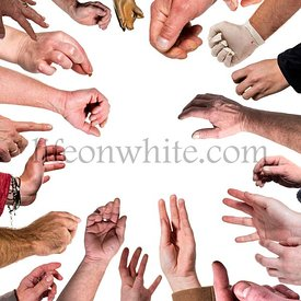 Many human hands in a circle, isolated on white