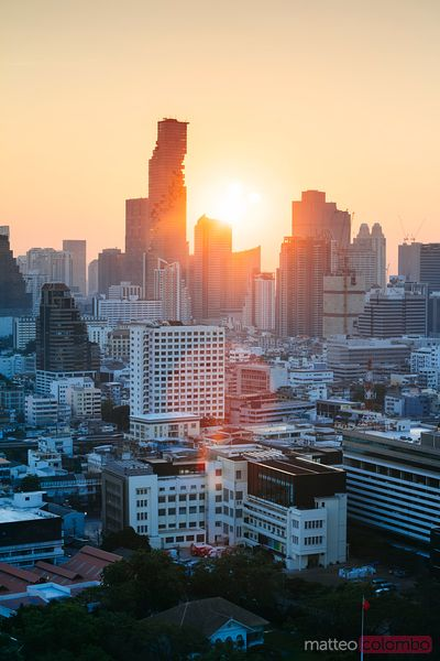 Skyline with Mahanakhon at sunset, Bangkok