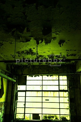 A dirty window letting light into a damp and decaying green room.