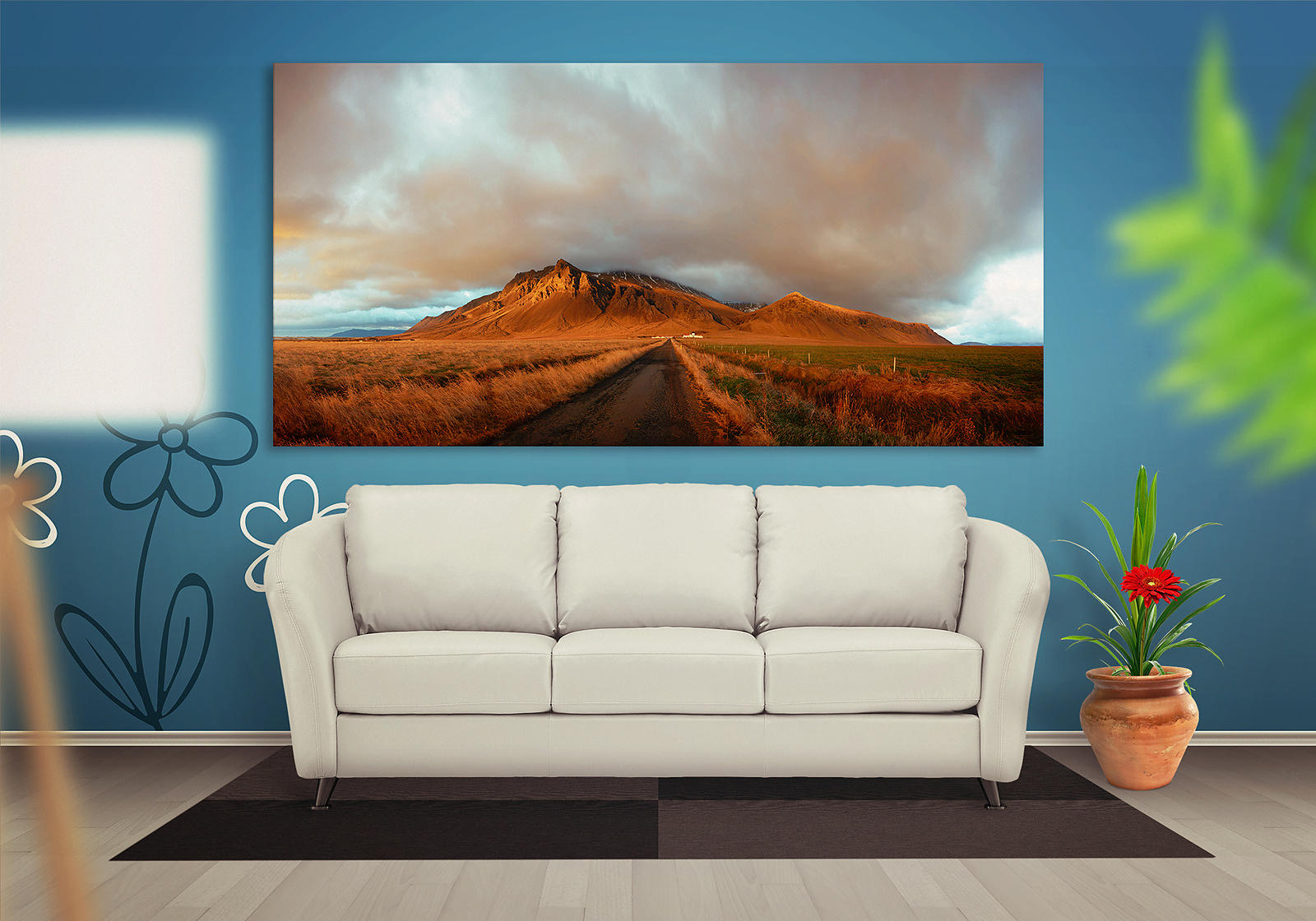 Iceland mountain canvas hanging on a wall