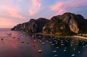 Aerial view of harbor at sunset, Phi Phi island, Thailand