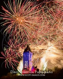 Prints & Stock Image - Hogmanay Fireworks over the Wallace Monument, Stirling, Scotland. New Year 2021