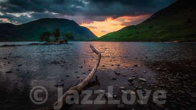 Sunset over Crummock water.