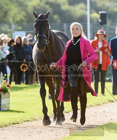 Emma Hyslop-Webb and PENNLANDS DOUGLAS at the trot up, Land Rover Burghley Horse Trials 2019