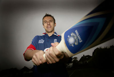 Ex-Cricketer and Everton Footballer Phil Neville at the launch of 'Branded Bats', Cricket Bats which are emblazoned with Foot...