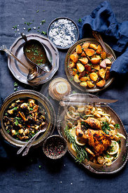 Roast Chicken Dinner with Grilled Brussels Sprouts with Chanterelles and Roasted Potatoes with Parsley & Salt.