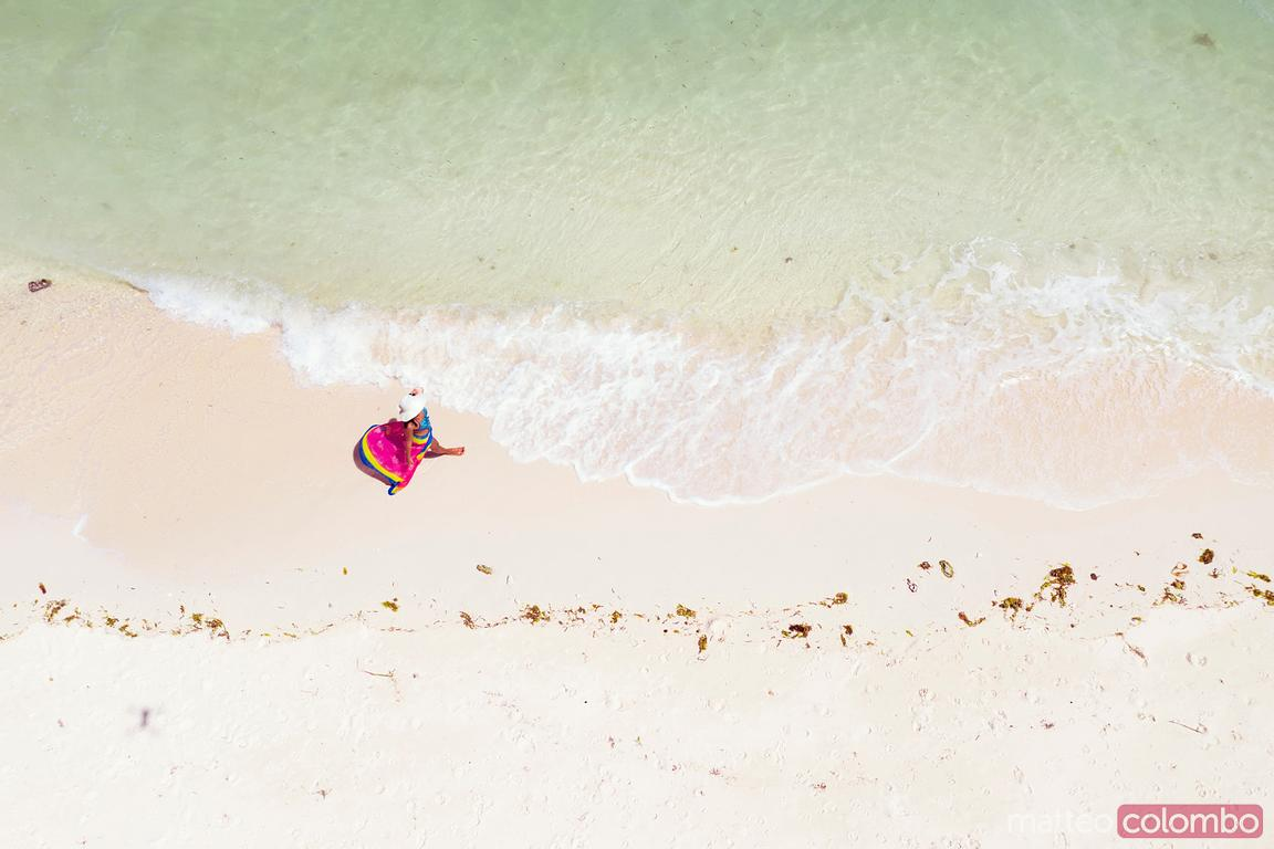 Overhead view of woman at the beach, Bohol, Philippines