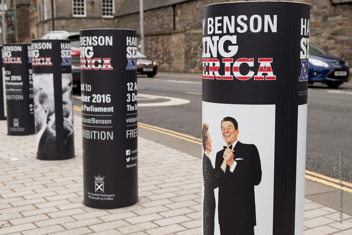 122182  Posters for an exhibition by Scottish photographer, Harry Benson, at the Scottish Parliament Building, Edinburgh