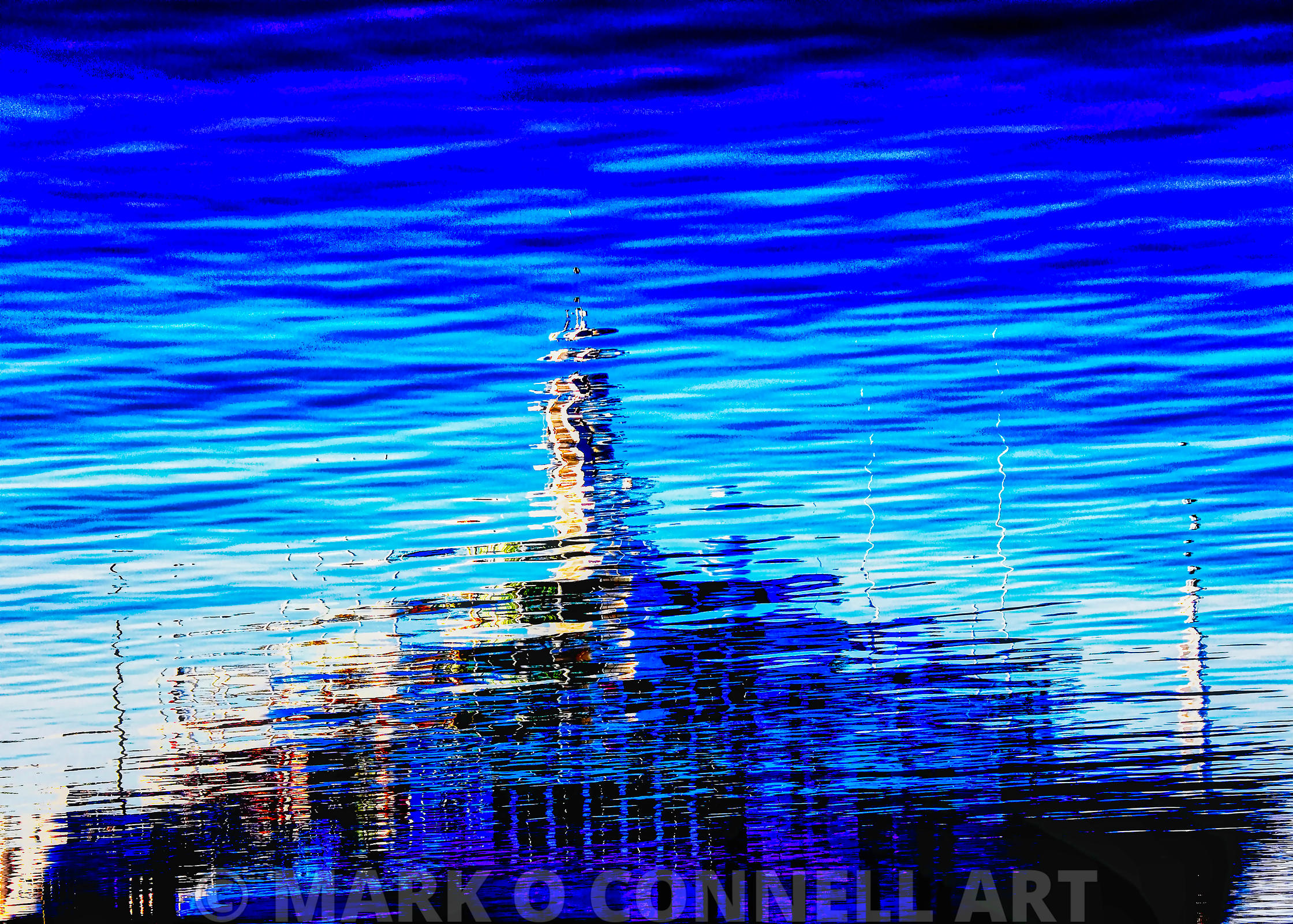 art,airbrush,abstract,water,blue,superyacht,reflection,yogi,ocean,sea,waves