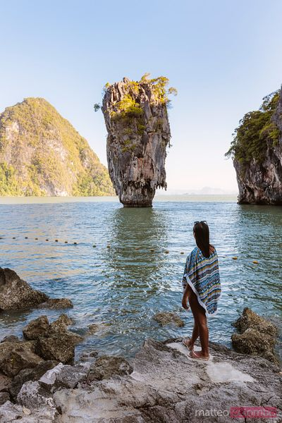 Female tourist looking at James Bond Island, Phang Nga, Thailand