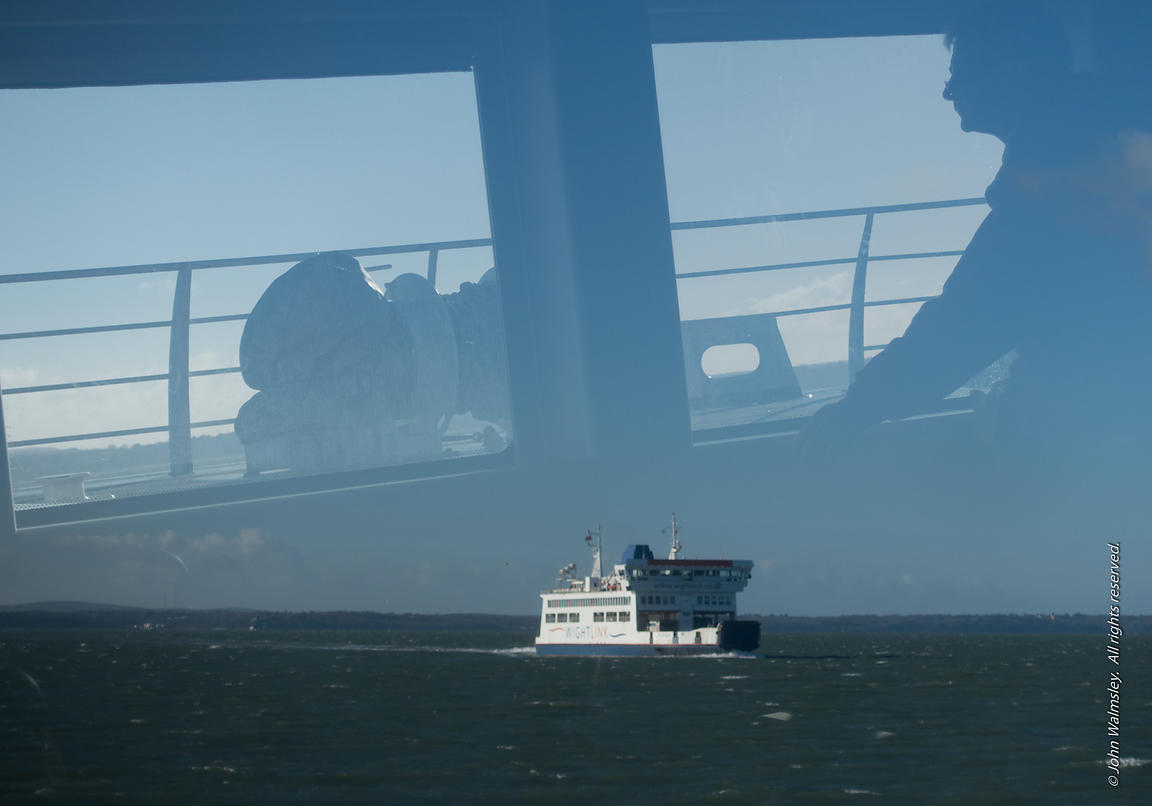 #115383  Isle of Wight ferries pass each other. 2015.