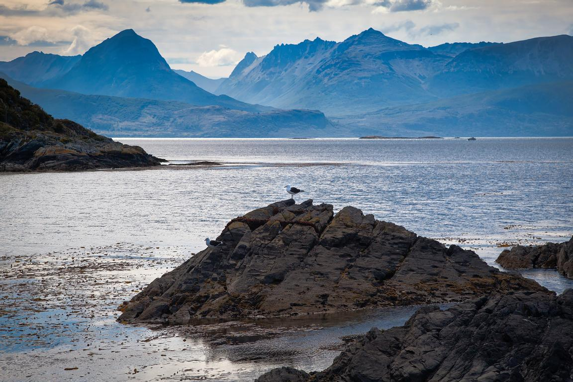 Land- en seascape in the Beagle Channel, a navigable strait in the archipelago island chain of Tierra del Fuego, situated par...