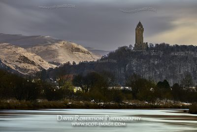 Prints & Stock Image - The National Wallace Monument reflected in the River Forth, Stirling City, Scotland.