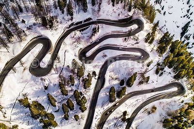 Aerial view of the amazing twisting road in the Maloja Pass between Switzerland and Italy