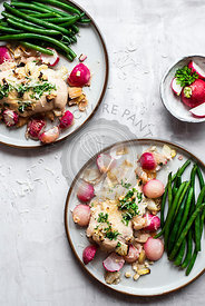 Parmesan And Parsley Chicken With Roasted Radishes And Green Beans