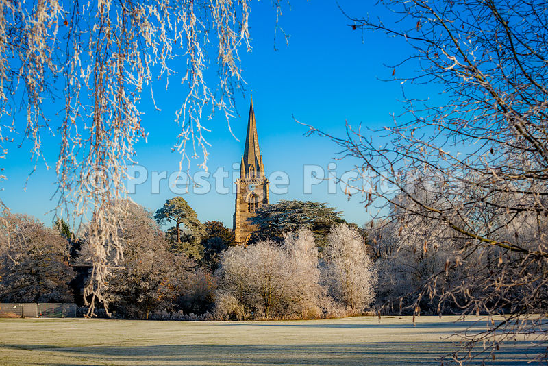 Village church on a winters morning