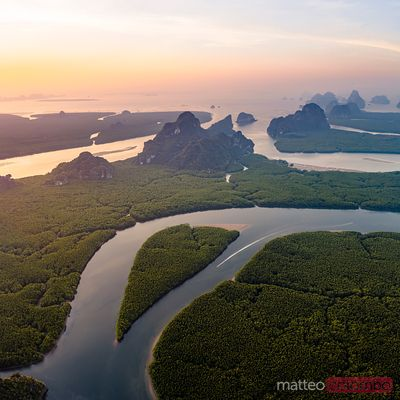 Aerial of river and mangrove forest with heart shaped island
