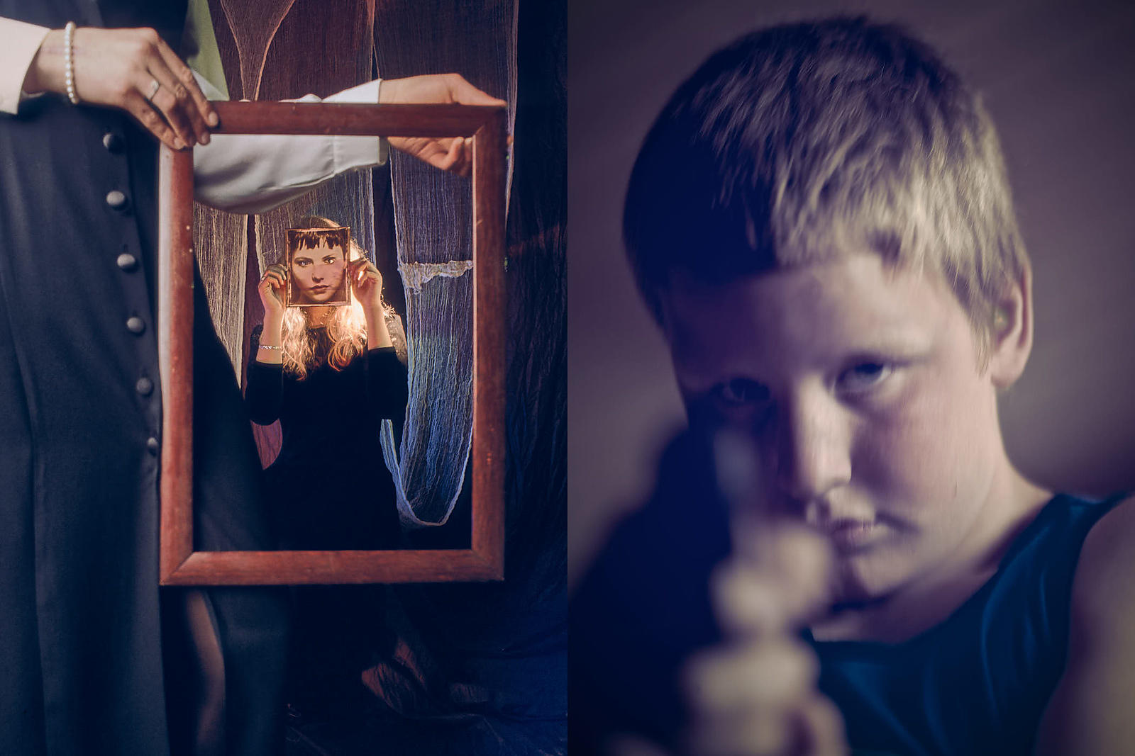 08-conceptual-images-boy-child-takes-aim-at-framed-masked-lady-in-dark-environment-suggesting-vulnerable-facades-are-fragile-...
