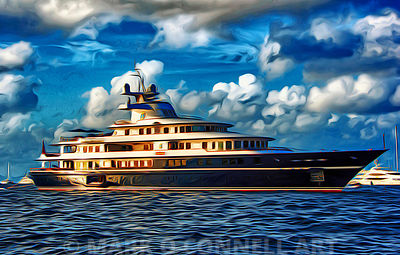 art,painting,airbrush,abstract,superyacht,leander,water,sea,ocean,Peene Werft